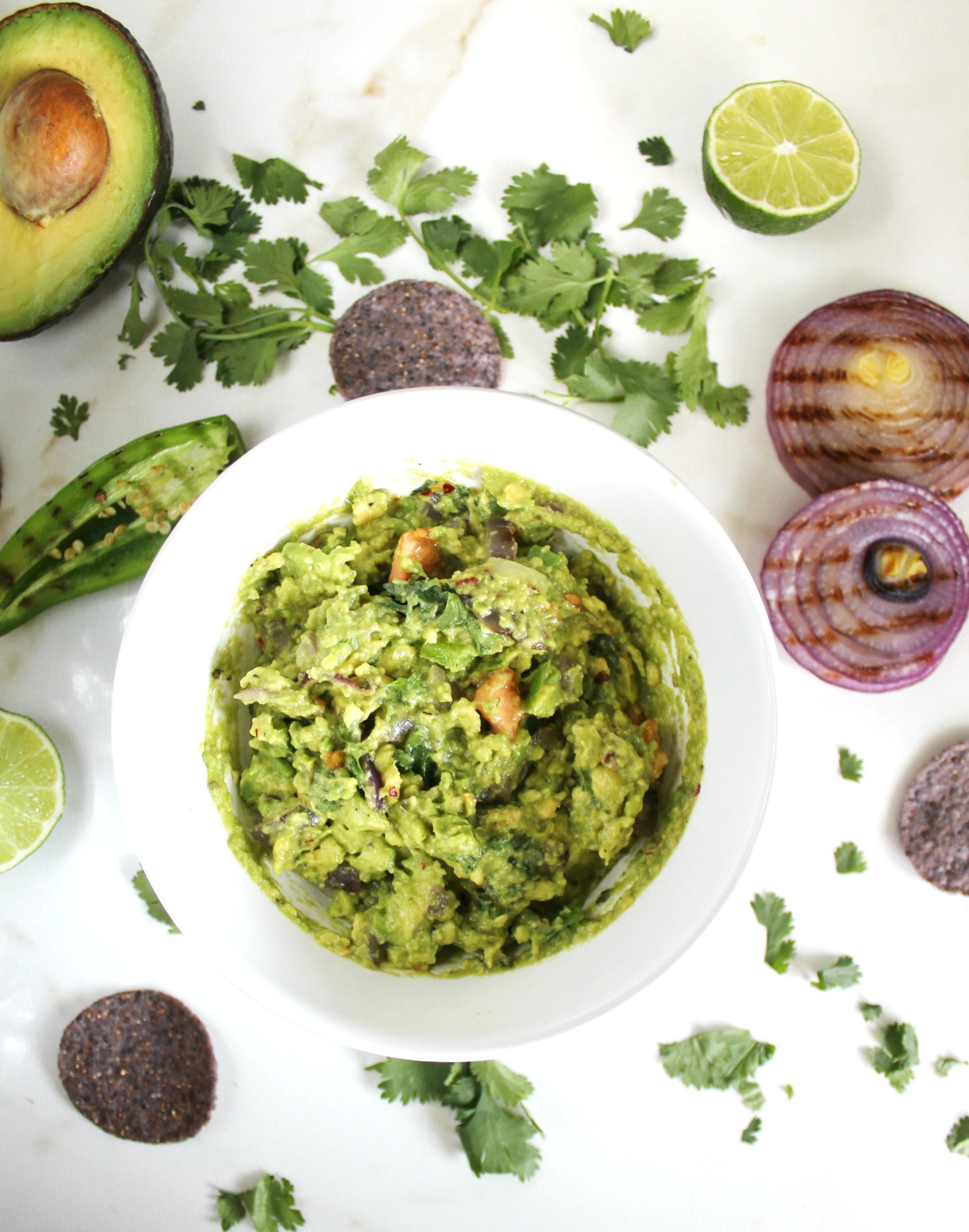 This Grilled Veggie Guacamole combines charred veggies with fresh avocado - perfect combo!   VEGAN + GF   ThisSavoryVegan.com