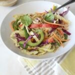 This Pad Thai Veggie Salad is packed with lots of veggies and topped with a creamy Spicy Peanut Sauce | VEGAN + GF | ThisSavoryVegan.com