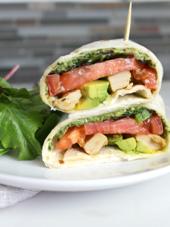 This Vegan Chick'n Pesto Wrap is just as good as any wrap you could get at a restaurant. Simple lunch or dinner!   ThisSavoryVegan.com