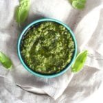 This Vegan Cashew Pesto is simple and delicious. Perfect on a wrap or sandwich!   ThisSavoryVegan.com