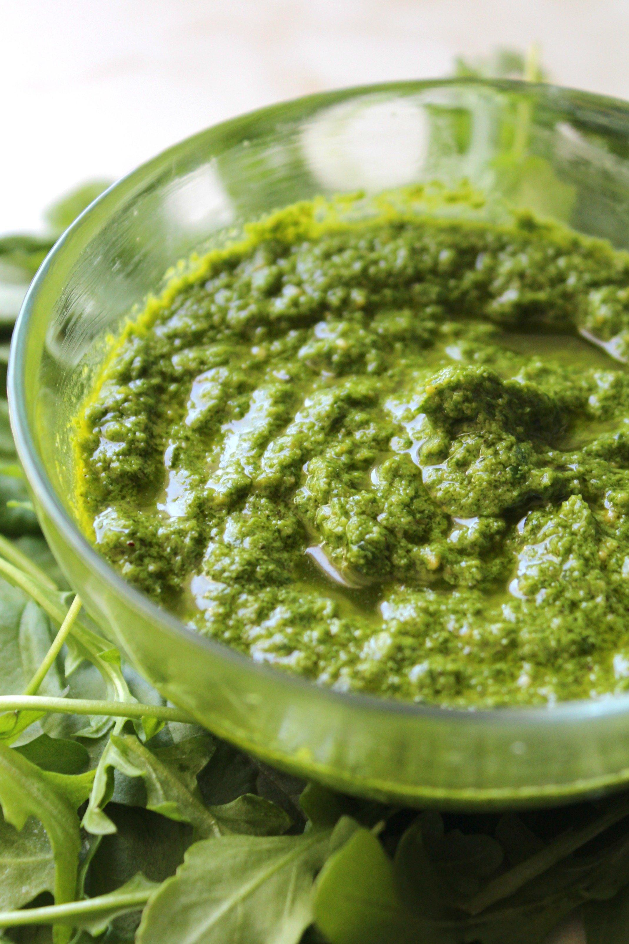 Arugula Basil Vegan Pesto   ThisSavoryVegan.com