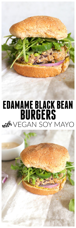 Edamame Black Bean Burgers with Vegan Soy Mayo | ThisSavoryVegan.com