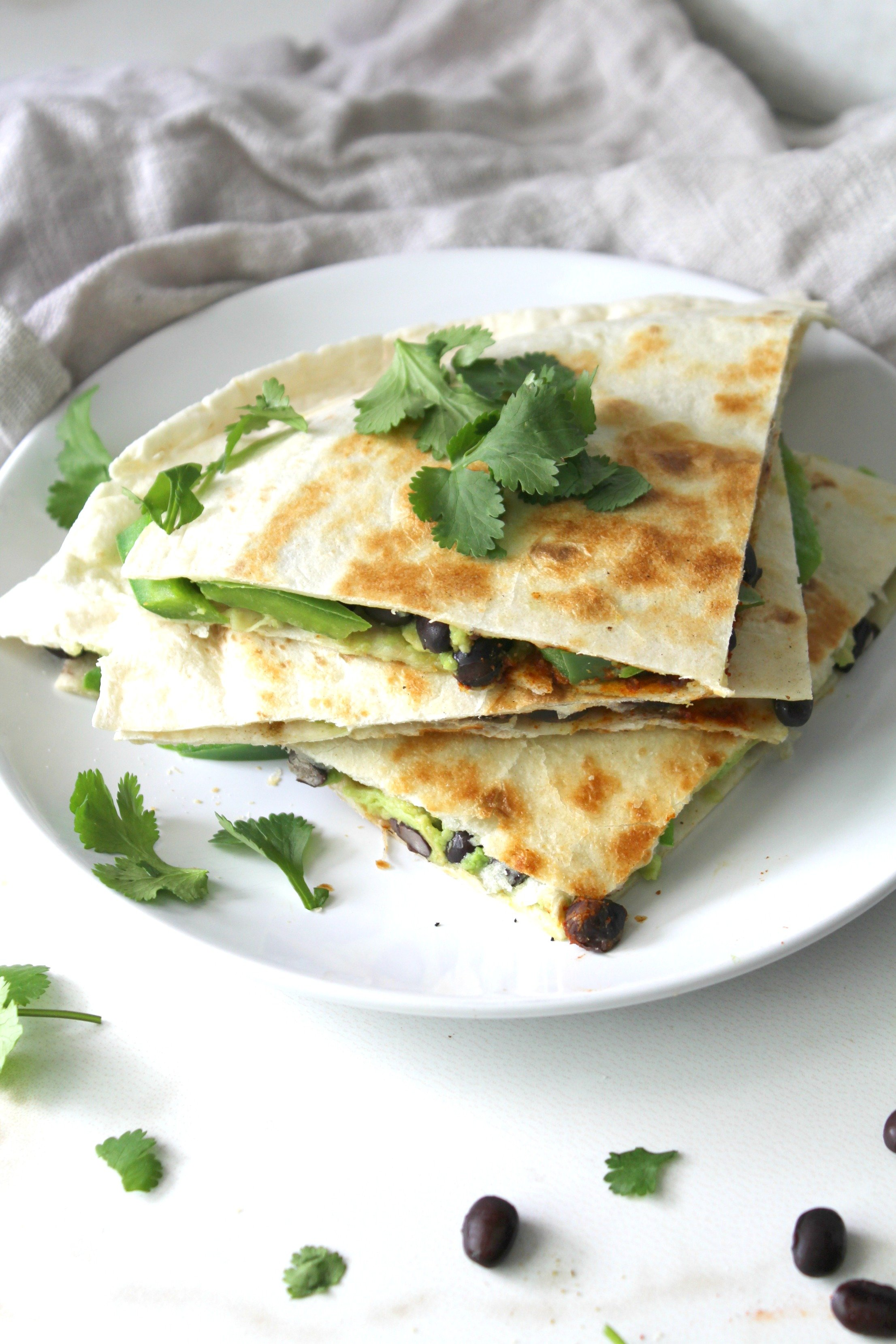 Avocado Black Bean Quesadillas - This Savory Vegan