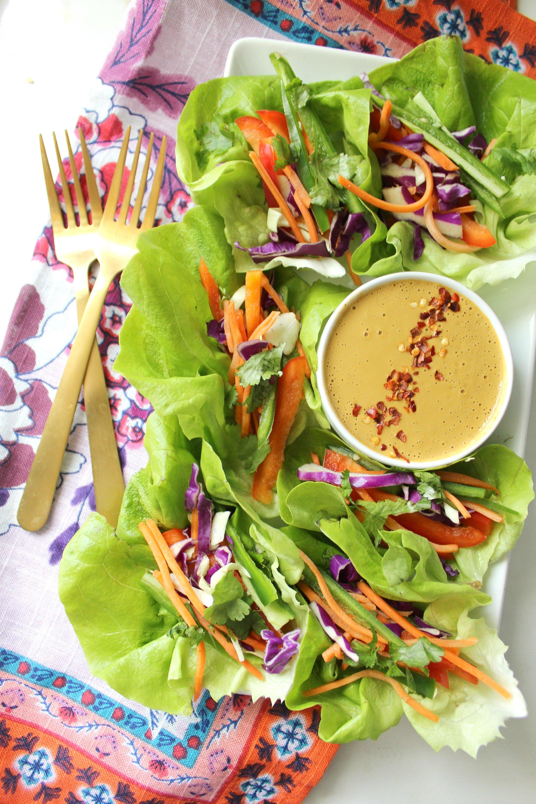 Vegan Lettuce Wraps with Spicy Peanut Sauce   Vegan + GF + Raw   ThisSavoryVegan.com