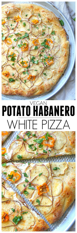 Vegan Potato Habanero White Pizza | ThisSavoryVegan.com