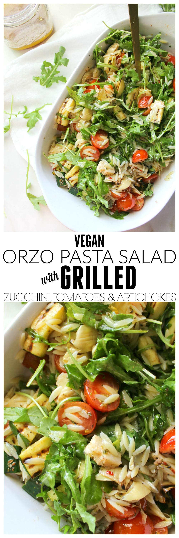 Vegan Orzo Pasta Salad with Grilled Veggies   ThisSavoryVegan.com