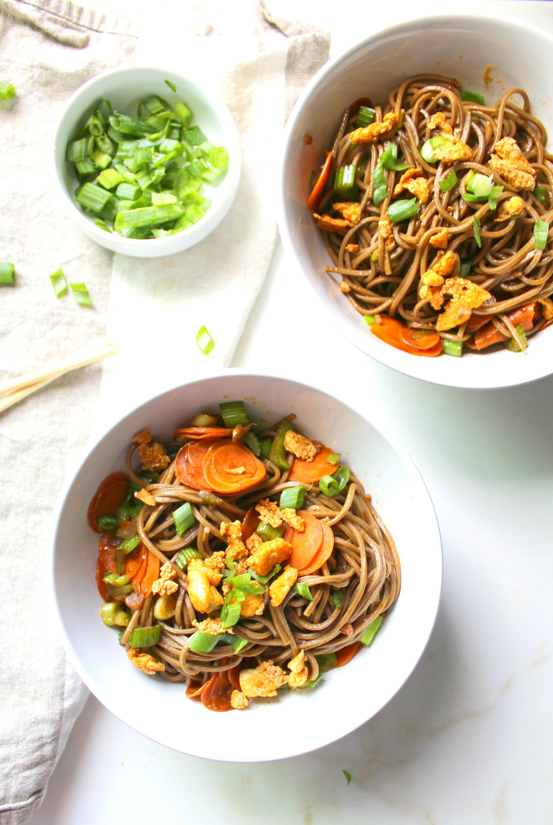 These Sesame Soba Noodles with Crispy Tofu are quick, easy and tasty. A satisfying meal that will have you coming back for more | ThisSavoryVegan.com