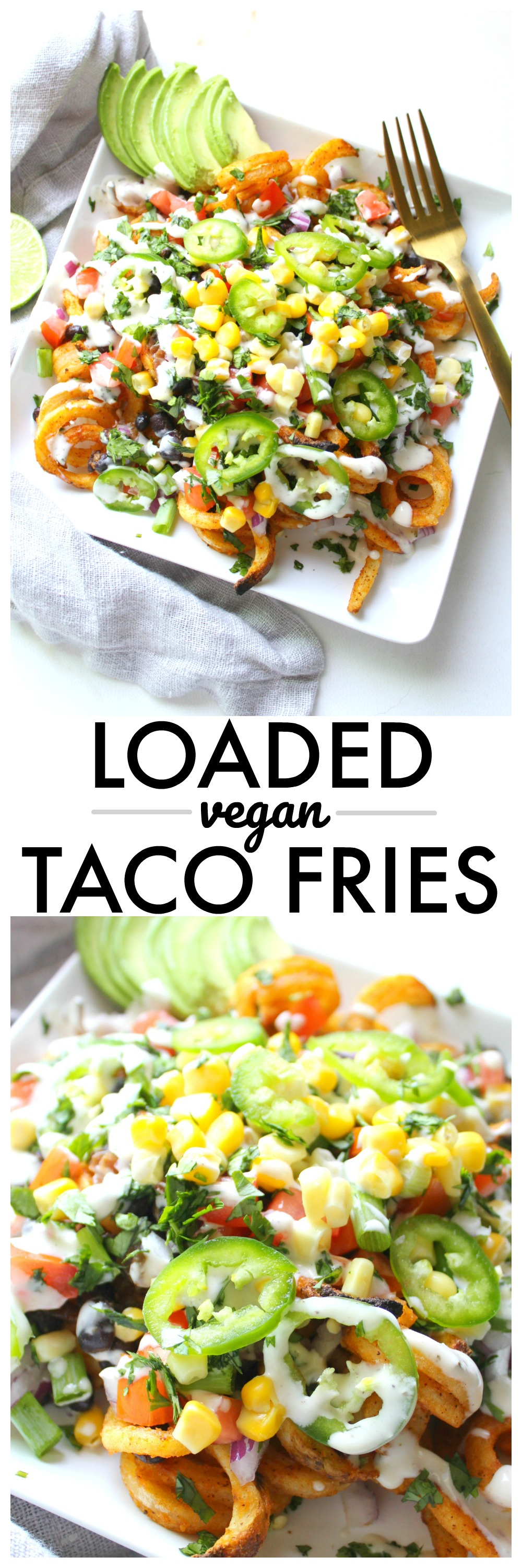 All of your favorite taco flavors come together with these Loaded Vegan Taco Fries. A fun game day snack or quick dinner #vegan #gamedaysnacks   ThisSavoryVegan.com