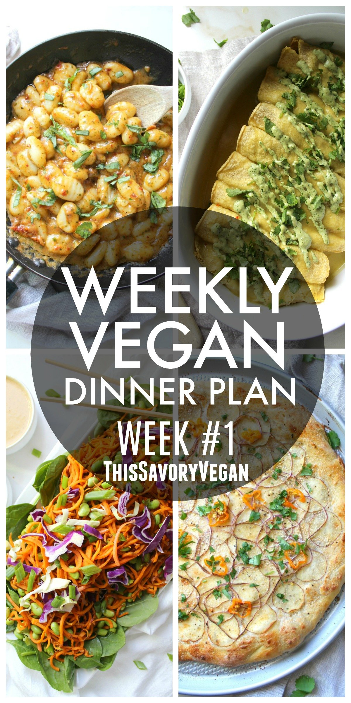 5 nights worth of vegan dinners to help inspire your menu. Choose one recipe to add to your rotation or make them all - shopping list included   ThisSavoryVegan.com #mealplan