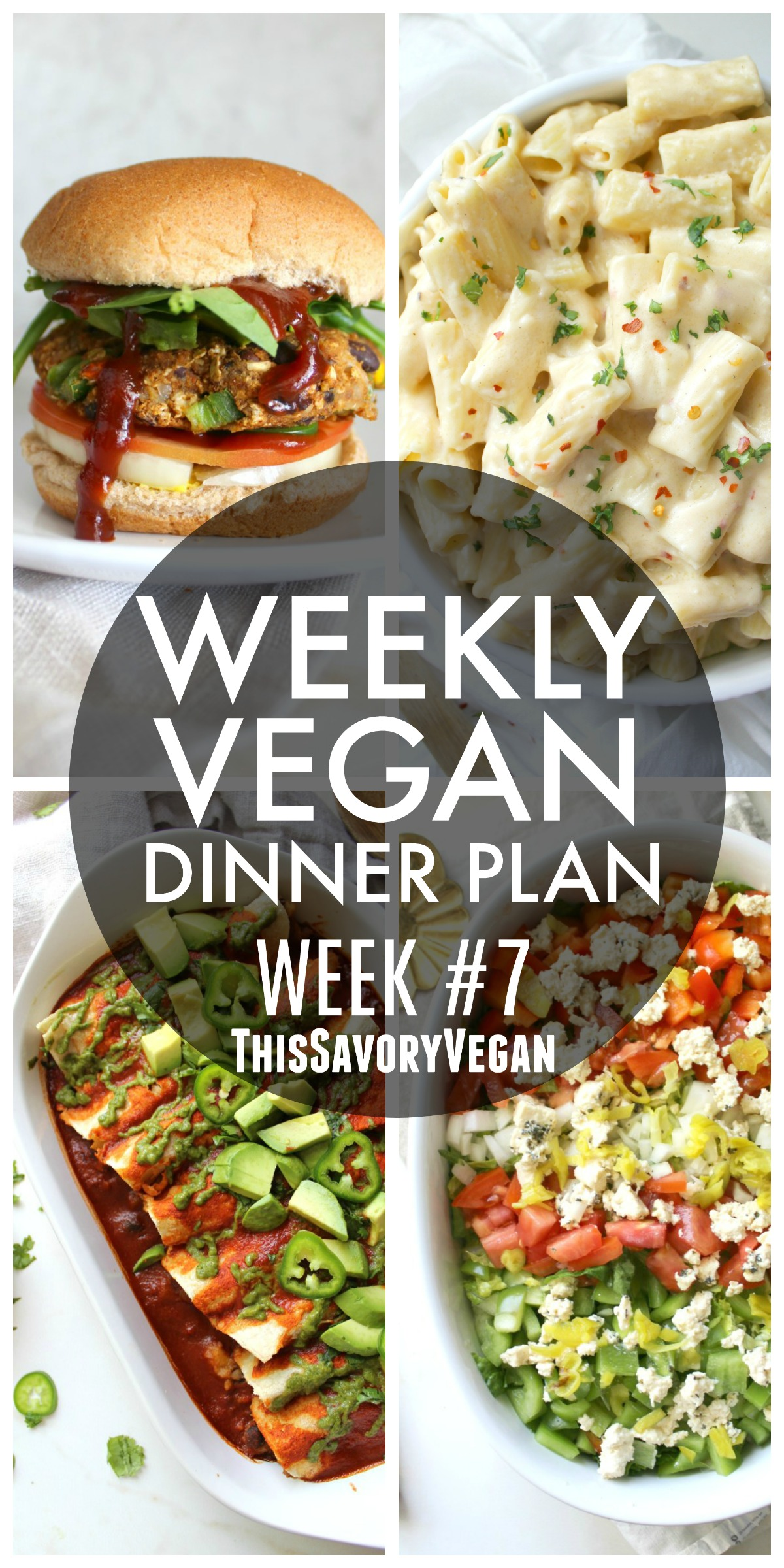 5 nights worth of vegan dinners to help inspire your menu. Choose one recipe to add to your rotation or make them all - shopping list included   ThisSavoryVegan.com #vegan #mealprep