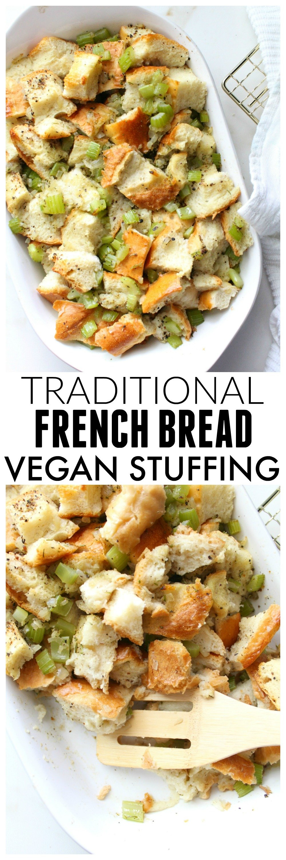 ThisTraditional French Bread Vegan Stuffing is easy to make and has all of the holiday flavors you've grown up loving but vegan-ized   ThisSavoryVegan.com #vegan #thanksgiving #veganthanksgiving