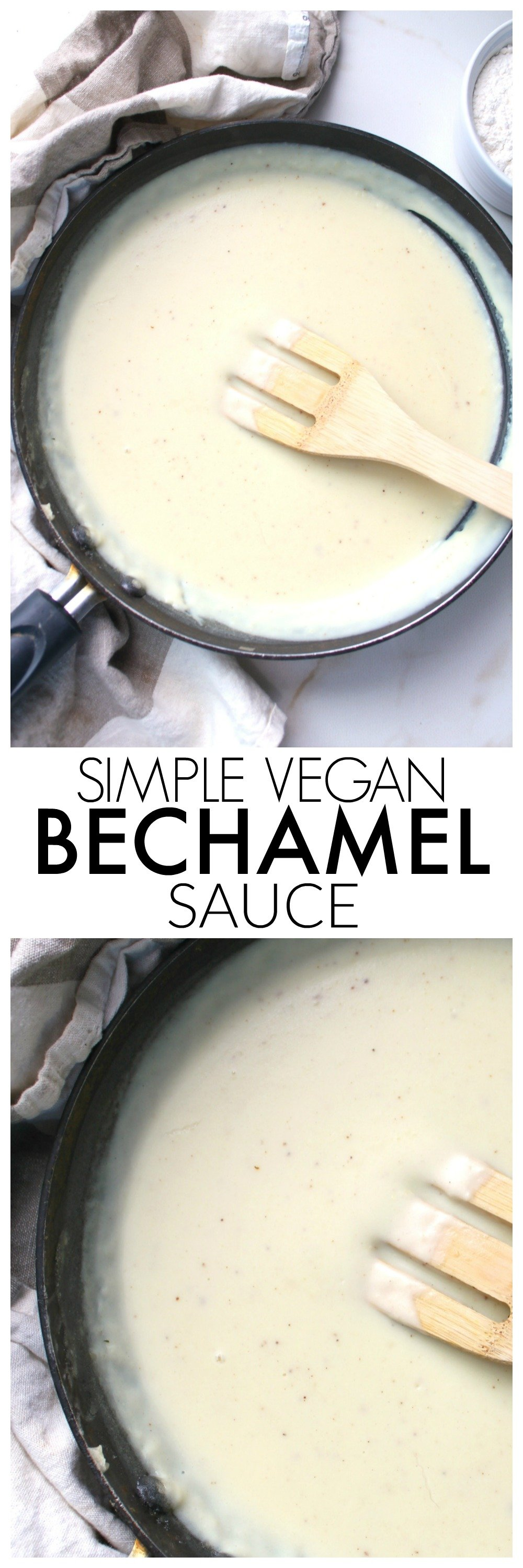 A classic creamy white sauce is vegan-ized with thisSimple Vegan Bechamel Sauce recipe. The perfect base sauce for any pasta dish   ThisSavoryVegan.com #vegan