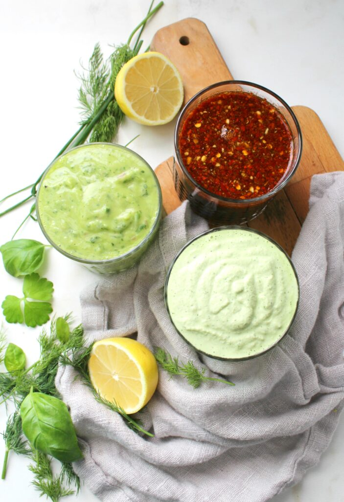 Perfect for salads or marinades, these3 Oil Free Vegan Dressings are packed full of fresh ingredients and lots of flavor   ThisSavoryVegan.com #vegan #vegandressing