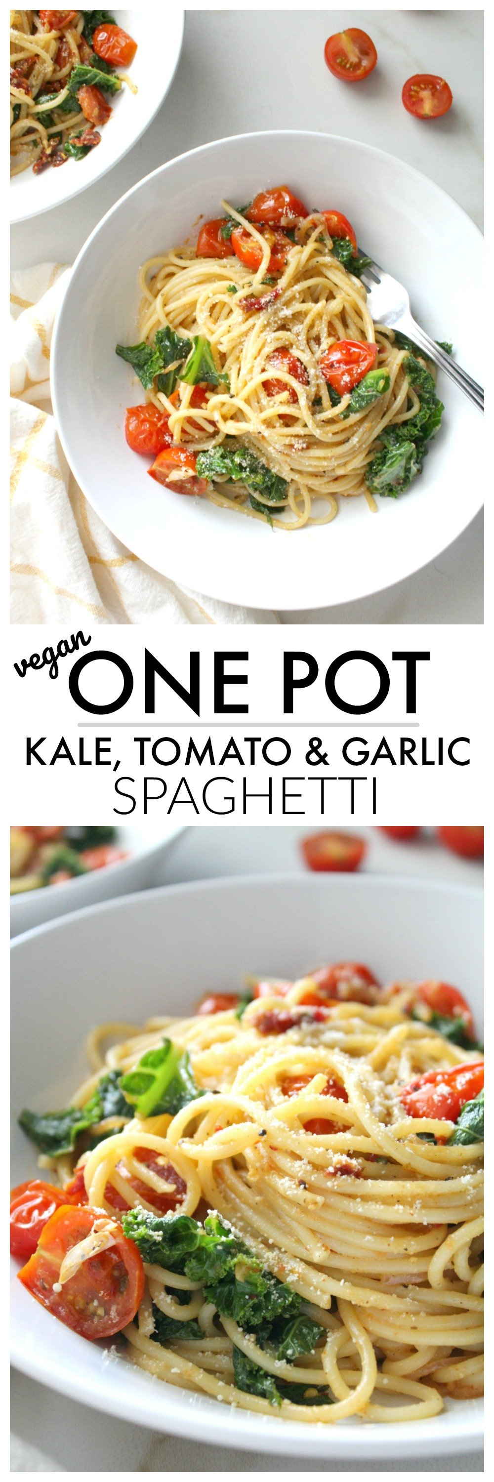 Keep dinner simple and delicious with thisOne Pot Kale, Tomato & Garlic Spaghetti. A simple vegan pasta dish that is packed full of veggies and bright flavors   ThisSavoryVegan.com #thissavoryvegan #veganpasta #plantbased