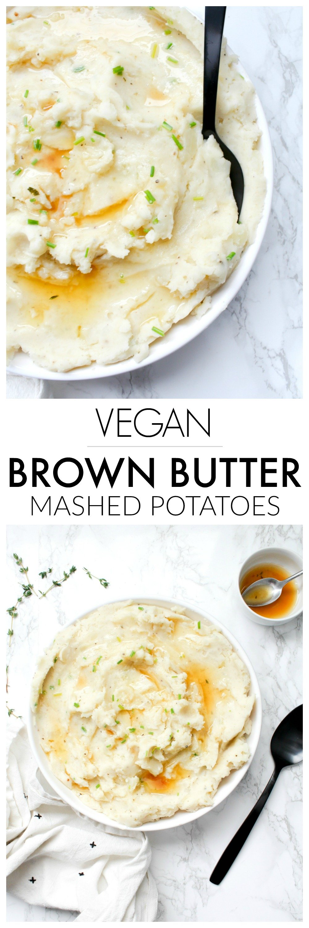 TheseVegan Brown Butter Mashed Potatoes are what potato dreams are made of - these will be the star of the show at your next holiday dinner | ThisSavoryVegan.com #thissavoryvegan #veganthanksgiving #mashedpotatoes