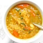 ThisVegan Chicken Couscous Soup is healthy, comforting and perfect for cold season. Next time you're feeling sick or it is a cold winter night, make this soup to feel warm and toasty   ThisSavoryVegan.com #thissavoryvegan #vegansoup #coldbuster