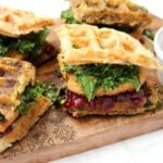 Put your leftovers to good use and make these Vegan Thanksgiving Leftover Waffle Sandwiches. The ultimate Thanksgiving meal that is totally drool worthy | ThisSavoryVegan.com #thissavoryvegan #veganthanksgiving #thanksgivingleftovers