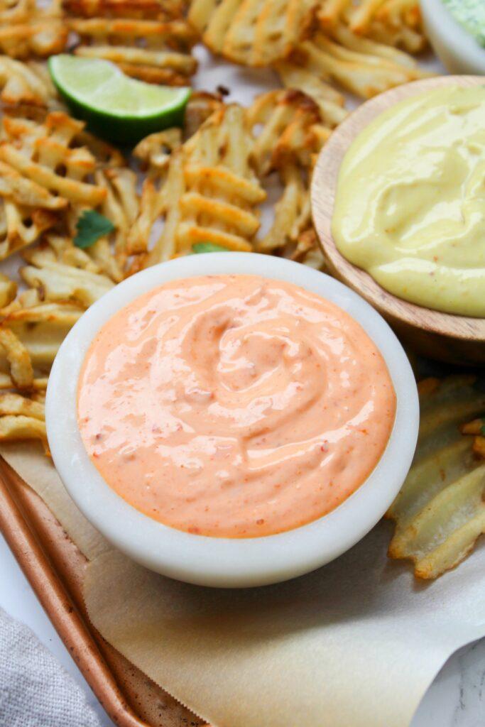 3 Vegan Dipping Sauces - Sriracha Mayo, Jalapeño Cilantro and Honey Mustard   ThisSavoryVegan.com #thissavoryvegan #dip #vegandip