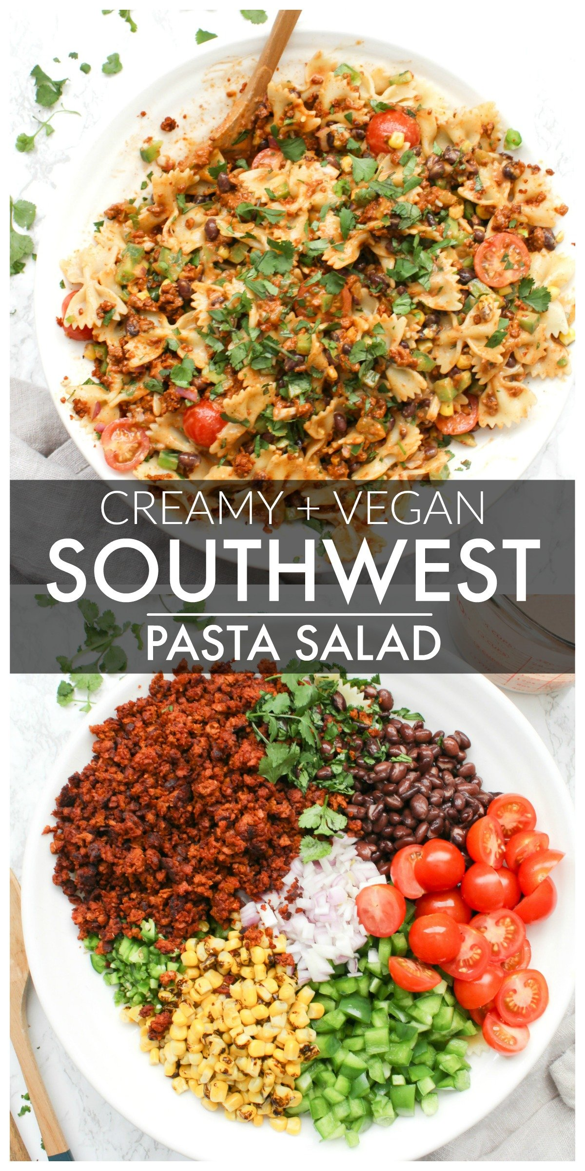 Creamy Vegan Southwest Pasta Salad - bow tie pasta, tons of veggies & soyrizo topped off with a creamy southwest dressing that is to die for   ThisSavoryVegan.com #thissavoryvegan #vegan #pastasalad