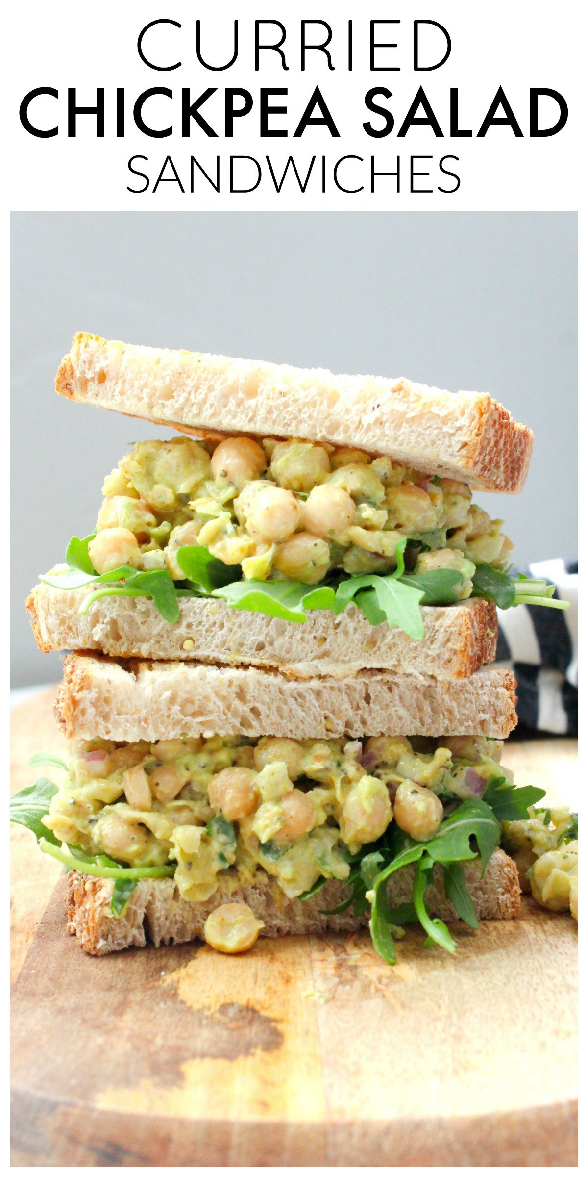 Spice up your next lunch with these Curried Chickpea Salad Sandwiches. The perfect amount of creaminess and spice on toasted sourdough   ThisSavoryVegan.com #thissavoryvegan #veganlunch