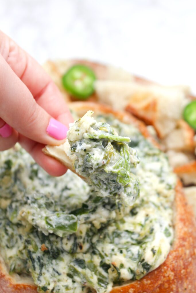 This Vegan Jalapeño Spinach Dip is the perfect game day or party snack. No one will ever know this creamy deliciousness is even vegan   ThisSavoryVegan.com #thissavoryvegan #veganspinachdip