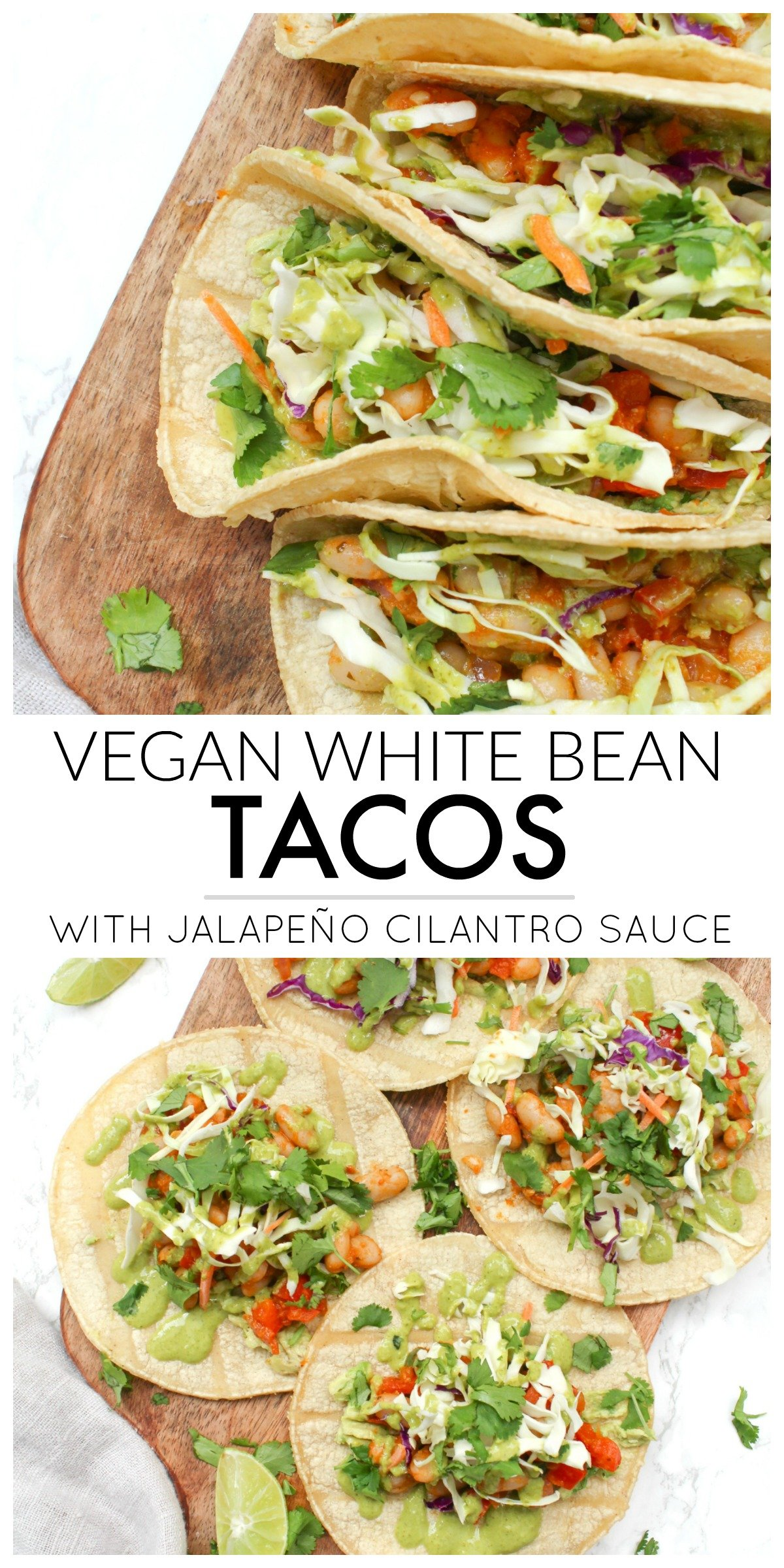These Vegan White Bean Tacos with Jalapeño Cilantro Sauce are filled with spicy white beans, pre-made slaw and a delicious green sauce   ThisSavoryVegan.com #thissavoryvegan #vegantacos