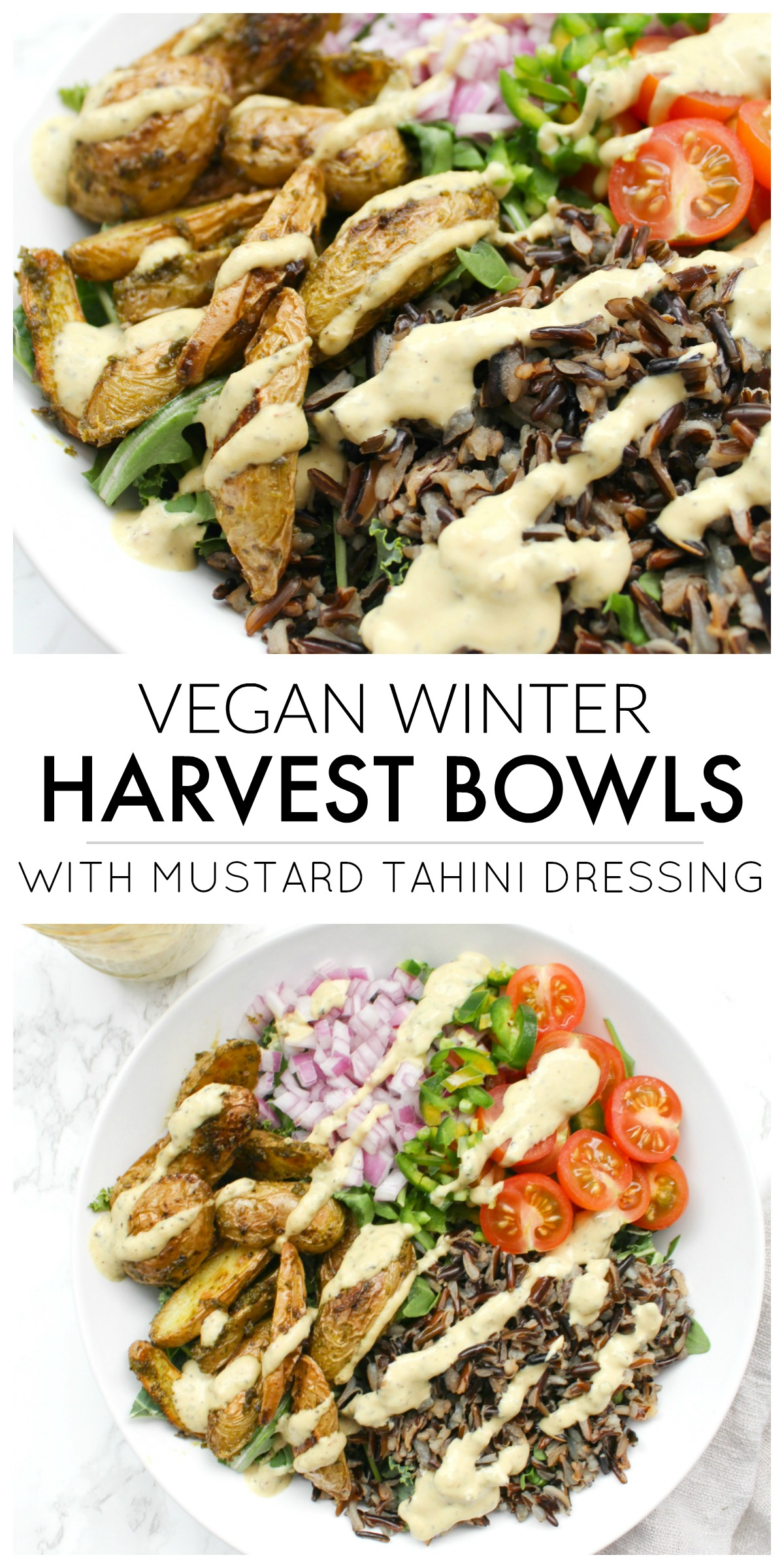 Both healthy and delicious, these Vegan Winter Harvest Bowls with Mustard Tahini Dressing are perfect for meal prepping   ThisSavoryVegan.com #thissavoryvegan #mealprep
