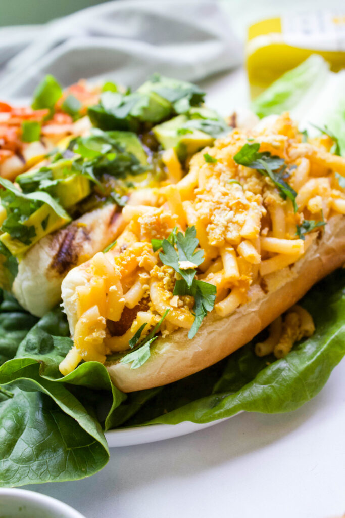 Vegan Hot Dogs 3 Ways - whether you like your hot dog with vegan mac & cheese, spicy relish & avocado, or sriracha mayo, there's a dog for you   ThisSavoryVegan.com #thissavoryvegan #vegan #veganbbq