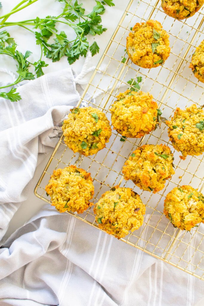 These Individual Vegan Thanksgiving Stuffing Muffins are the perfect Thanksgiving side dish. A savory cornbread mixture in a small package   ThisSavoryVegan.com #thissavoryvegan #vegan #veganthanksgiving