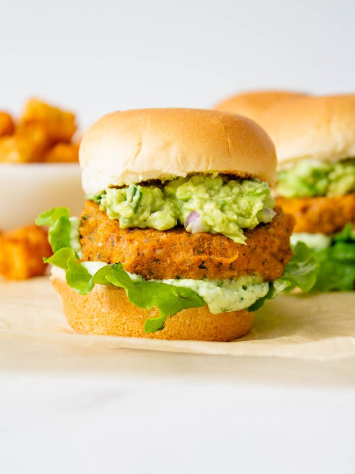 These Buffalo Chickpea Sliders with Vegan Basil Aioli are totally delicious! Whether you serve these at a party or for dinner, they are always a crowd pleaser   ThisSavoryVegan.com #thissavoryvegan #vegansliders #veganpartysnacks