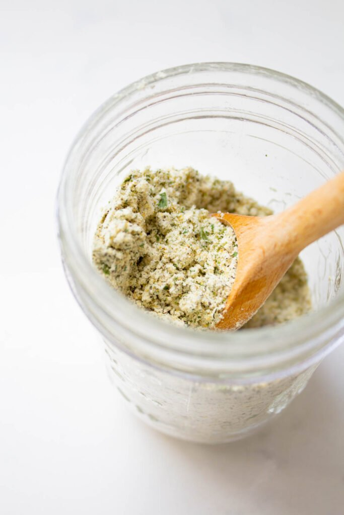 You are going to love how easy it is to make vegan ranch dressing or dip at home once you have this Vegan Dry Ranch Seasoning Mix on hand   ThisSavoryVegan.com #thissavoryvegan #veganranch