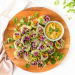 These Soba Noodle Summer Rolls with Peanut Sauce are the perfect no-cook meal. Fresh veggies, fiber-packed soba noodles and a creamy peanut sauce. A great vegan lunch or dinner   ThisSavoryVegan.com #thissavoryvegan #summerroles #peanutsauce