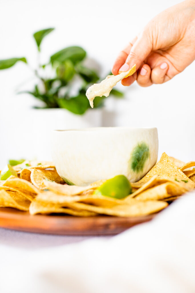 This 2-Ingredient Vegan Queso takes 5 minutes to make and is the ultimate crowd pleaser. Serve this vegan dip with your favorite toppings & tortilla chips | ThisSavoryVegan.com #thissavoryvegan #veganqueso #vegandip