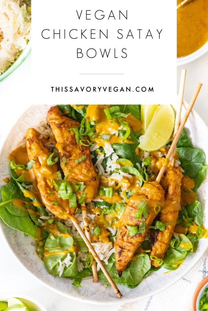 These Vegan Chicken Satay Bowls are loaded with coconut rice, spinach, air fryer vegan chicken satay skewers and a curry peanut sauce! Comforting and quick dinner idea   ThisSavoryVegan.com #thissavoryvegan #veganchickensatay #peanutsauce