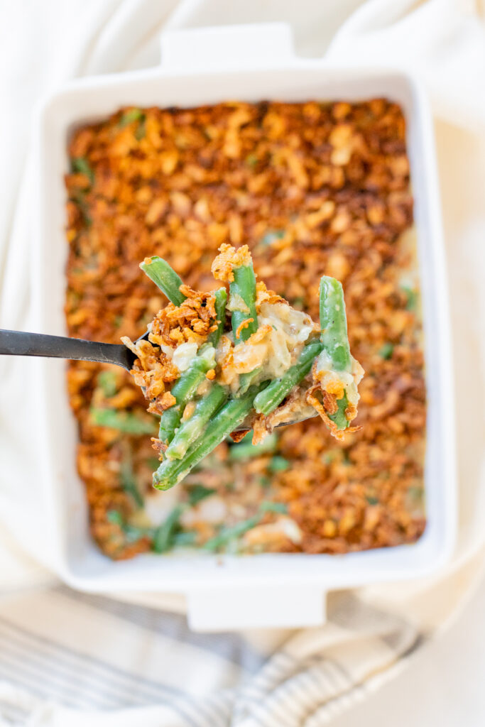 This is literally the BEST Vegan Green Bean Casserole I have ever had. It is comforting, creamy and crunchy all at the same time. Perfect holiday side | ThisSavoryVegan.com #thissavoryvegan #veganthanksgivingrecipes #veganthanksgivingside