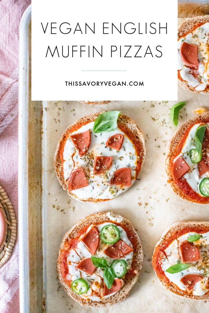 These Vegan English Muffin Pizzas are kid-friendly but adult approved. Make these in the air fryer or the oven & add your favorite toppings | ThisSavoryVegan.com #thissavoryvegan #veganpizza #englishmuffinpizza