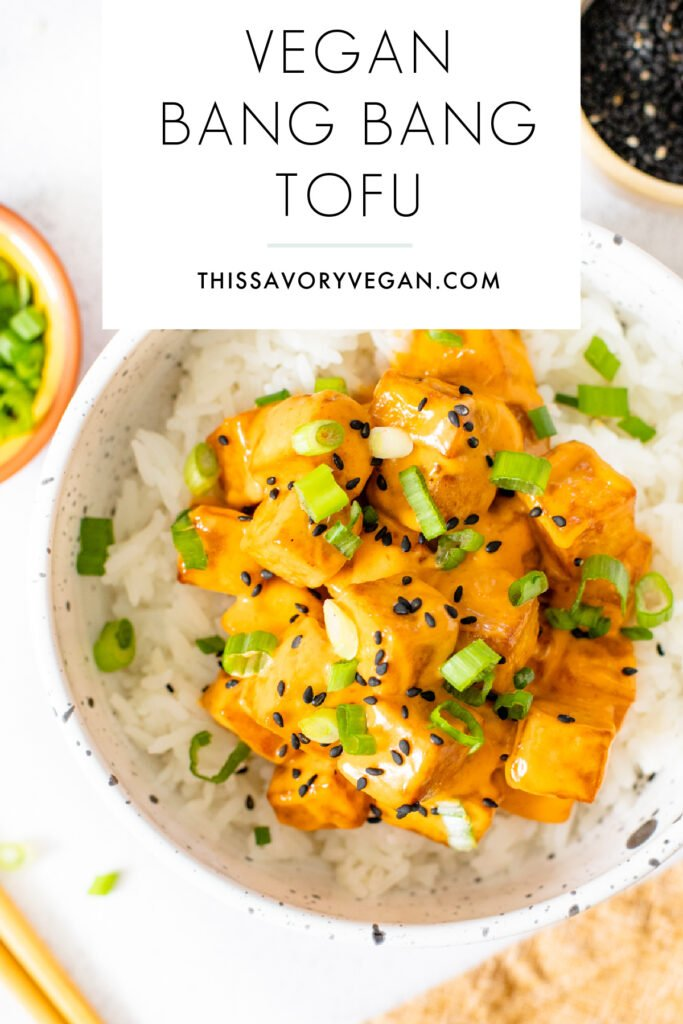 This Vegan Bang Bang Tofu is a flavor bomb. Slightly spicy, perfectly creamy & totally tasty. Serve over hot rice for a tasty vegan dinner | ThisSavoryVegan.com #thissavoryvegan #tofurecipes #vegandinnerideas