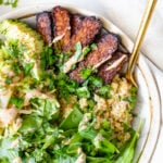 These Hoisin Tempeh Quinoa Bowls are filled with crispy tempeh, wilted cabbage, crunchy spinach, quinoa, avocado & a balsamic tahini dressing | ThisSavoryVegan.com #thissavoryvegan #tempehrecipes #quinoabowls