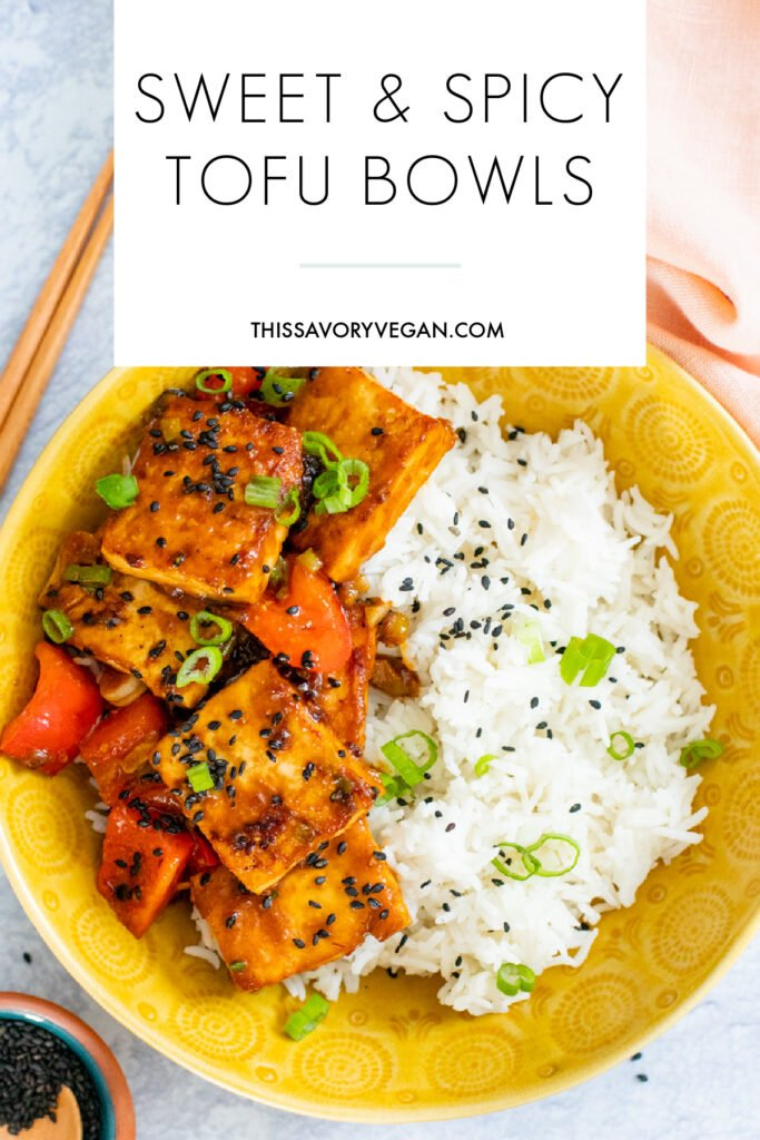 These Sweet & Spicy Tofu Bowls are made with a tangy mustard sauce, crispy tofu, bell peppers and rice. A quick vegan dinner | ThisSavoryVegan.com #thissavoryvegan #tofubowls #tofurecipes