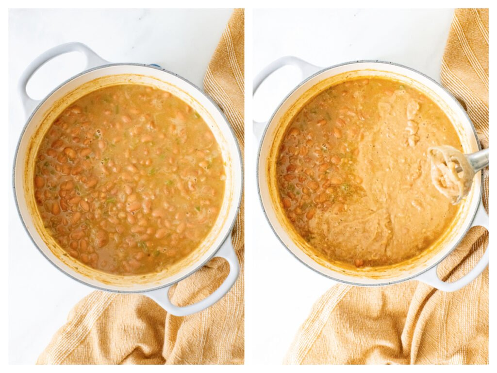 These Vegan Refried Beans are simple, easy and ready in 30 minutes. Making refried beans at home has never been easier | ThisSavoryVegan.com #thissavoryvegan #veganbeans #vegansidedish