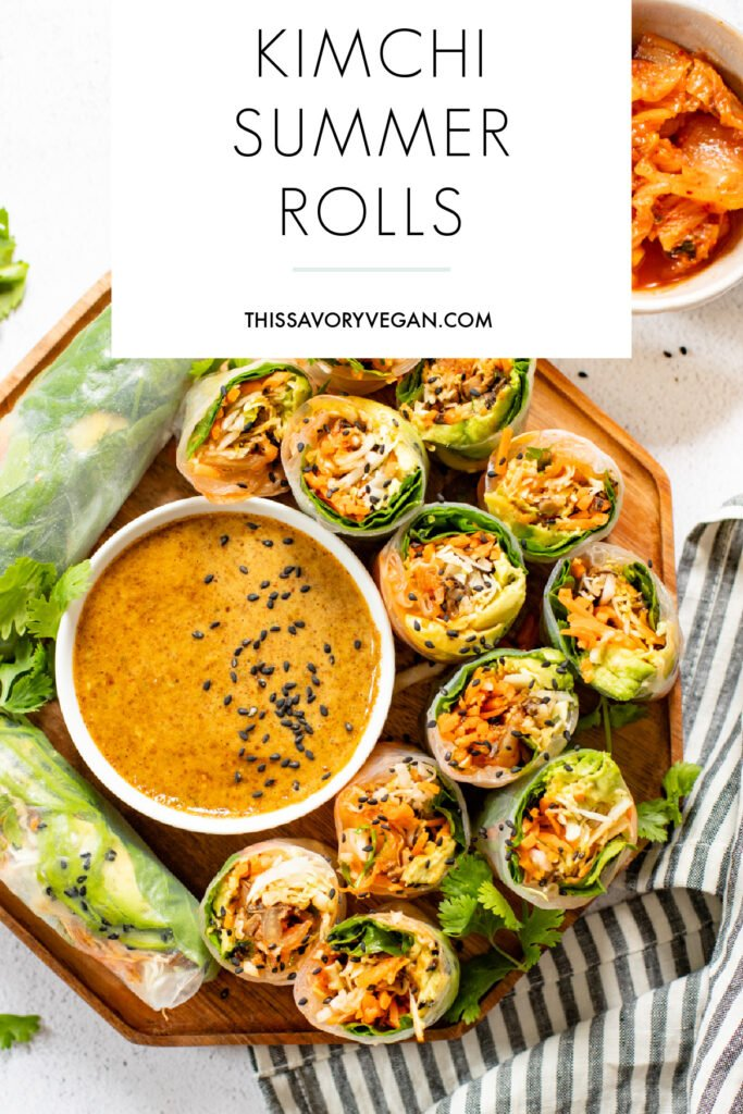 These Kimchi Summer Rolls with Almond Dipping Sauce are filled with fresh veggies, cooked mushrooms and Nasoya's Vegan Spicy Kimchi   ThisSavoryVegan.com #thissavoryvegan #kimchi #summerrollrecipes