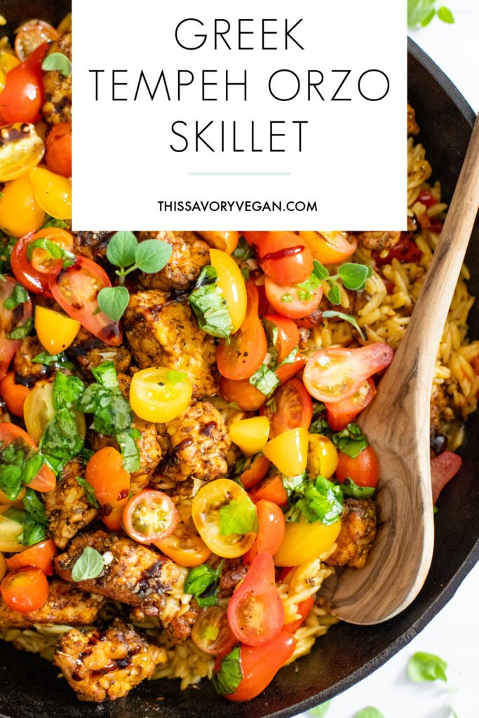 If summer were a dish it would be this Greek Tempeh Orzo Skillet! Fresh tomatoes, basil, orzo, tempeh - cooked in one skillet and totally tasty   ThisSavoryVegan.com #thissavoryvegan #skilletdinner #summervegandinner