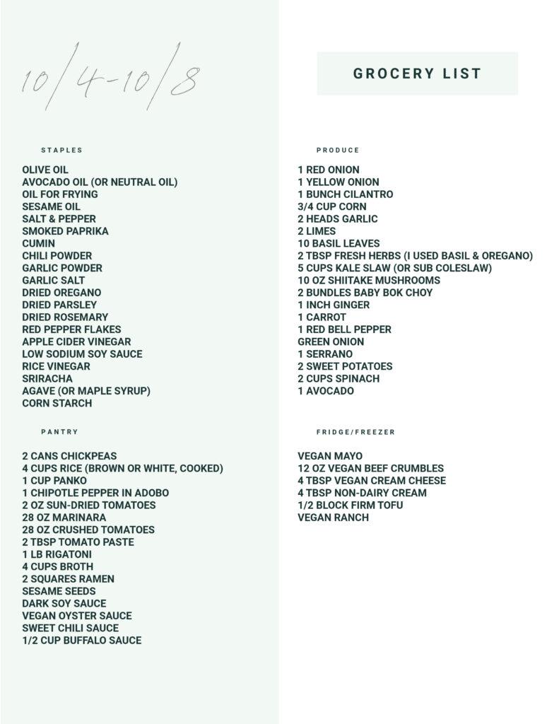 Weekly Vegan Dinner Plan #150 - Grocery List | ThisSavoryVegan.com