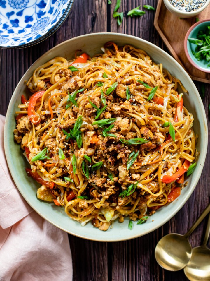 Ready in 30 minutes, filled with veggies and totally tasty. These Simple Hoisin Tofu Noodles are a quick and easy vegan dinner idea | ThisSavoryVegan.com #vegannoodles #veganstirfry #vegandinneridea